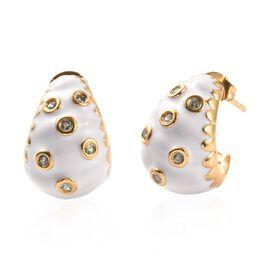 Narsipatnam Alexandrite Enamelled J Hoop Earrings in Gold Plated Sterling Silver