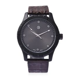 STRADA Japanese Movement Water Resistance Sporty Watch in Black Plating - Chocolate