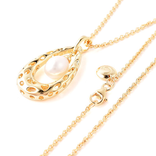 RACHEL GALLEY - Freshwater Pearl Pendant with Chain (Size 30) in Yellow Gold Overlay Sterling Silver, Silver wt. 11.55 Gms