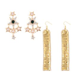 Set of 2 - Simulated Pearl (Rnd), White and Green Austrian Crystal Earrings in Gold Tone