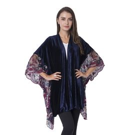 Navy Blue Colour Nice Velvet Kimono with Embroidery Flower Lace Sleeve (Size 108x80 Cm)