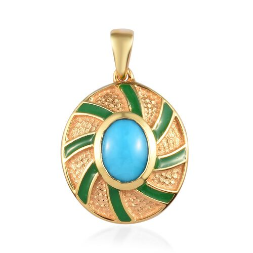 Arizona Sleeping Beauty Turquoise Enamelled Pendant in 14K Gold Overlay Sterling Silver 1.00 Ct.