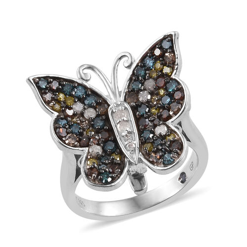 GP Multi Colour Diamond (Rnd), Kanchanaburi Blue Sapphire Butterfly Pendant with Chain (Size 18) and Ring in Platinum Overlay Sterling Silver 1.030 Ct, Silver wt 7.47 Gms.
