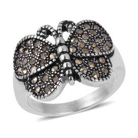 Swiss Marcasite (Rnd) Butterfly Ring in Black Oxidised Stainless Steel 2.00 Ct.
