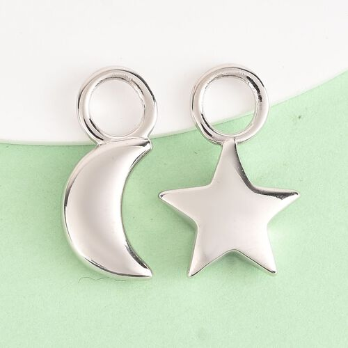 Charmes De Memoire - 2 Piece Set - Platinum Overlay Sterling Silver Moon and Star Charm