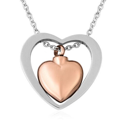 2 Piece Set - Memorial Heart Necklace (Size 20) and Funnel with Needle in Dual Tone
