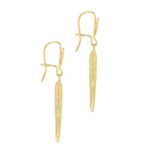 9K Yellow Gold Angel Wing Drop Fancy Lever Back Earrings