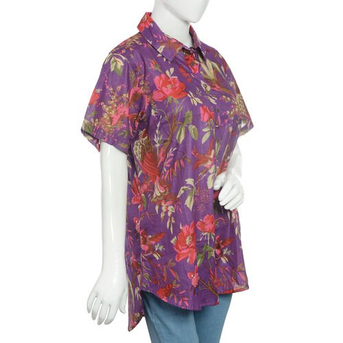 Designer Inspired-100% Cotton Purple and Multi Colour Flower and Birds Pattern Apparel (Size 77x57 Cm)
