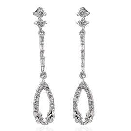 GP Diamond (Bgt), Kanchanaburi Blue Sapphire Earrings (with Push Back) in Platinum Overlay Sterling Silver 0.390 Ct.