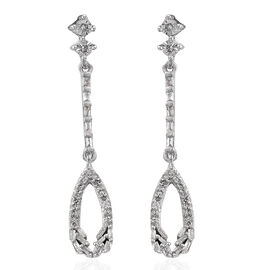 GP Diamond (Bgt), Kanchanaburi Blue Sapphire Earrings (with Push Back) in Platinum Overlay Sterling
