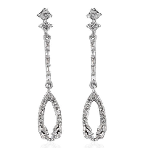 GP Diamond (Bgt), Kanchanaburi Blue Sapphire Earrings (with Push Back) in Platinum Overlay Sterling Silver 0.390 Ct.