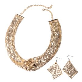 2 Piece Set - Retro Dazzling Collar Necklace (Size 22) and Hook Earrings in Gold Tone
