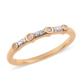 Diamond 14K Gold Overlay Sterling Silver Ring  0.070  Ct.