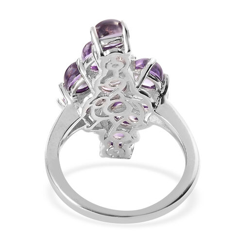 Amethyst Bypass Ring in Silver Tone 3.00 Ct.