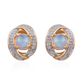 Ethiopian Welo Opal (Rnd), Natural Cambodian Zircon Stud Earrings (with Push Back) in 14K Gold Overl