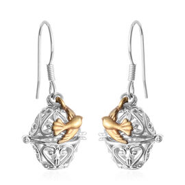 Designer Inspired- Platinum and Yellow Gold Overlay Sterling Silver Filligree Oval Cage Hook Earrings with Bird Charm, Silver wt 6.20 Gms