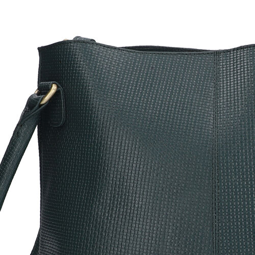 100% Genuine Leather Weave Pattern Designer Handbag with Detachable Shoulder Strap (Size 30x13x28 Cm) - Dark Green