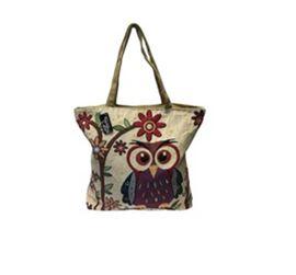 Thomas Calvi Beige, Khaki and Multi Colour Owl Shopping Bag (Size 40x9x34 Cm)
