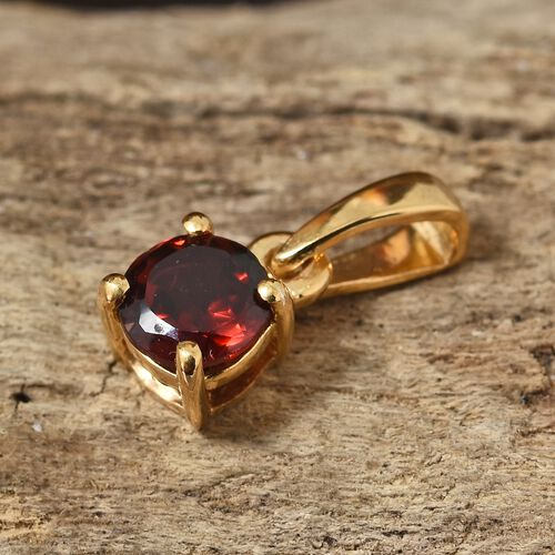 Mozambique Garnet (Rnd) Solitaire Pendant in 14K Gold Overlay Sterling Silver 0.500 Ct.