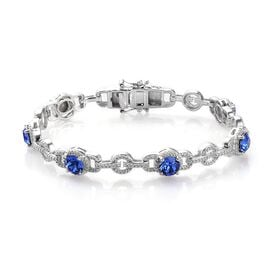 J Francis Sapphire Colour Crystal from Swarovski Station Bracelet in Platinum Plated 7.5 Inch
