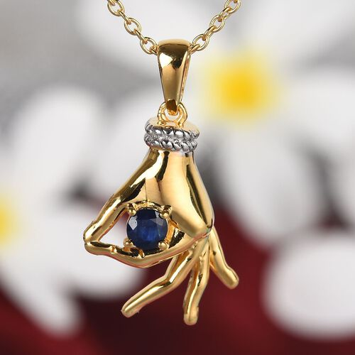 Madagascar Blue Sapphire Mudra Hand Pendant With Chain (Size 20) in Yellow Gold and Platinum Overlay Sterling Silver 0.35 Ct, Silver wt. 8.50 Gms