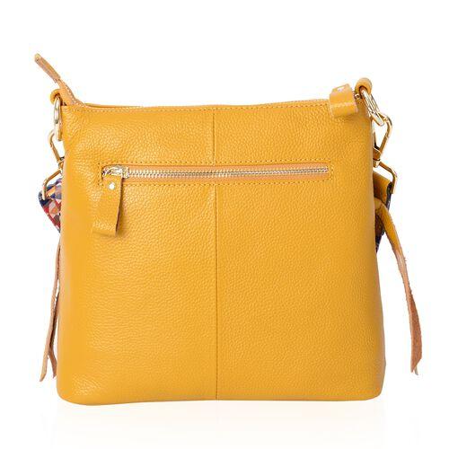 Super Soft 100% Genuine Leather Yellow Colour Multi Compartment Crossbody Bag with Detachable Crossbody Strap (Size: 25x8x23 Cm)