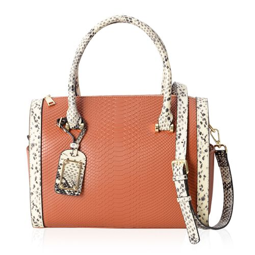 Close Out Deal 100% Genuine Leather Italian Burgundy Colour Snake Pattern Tote Bag with Removable Sh