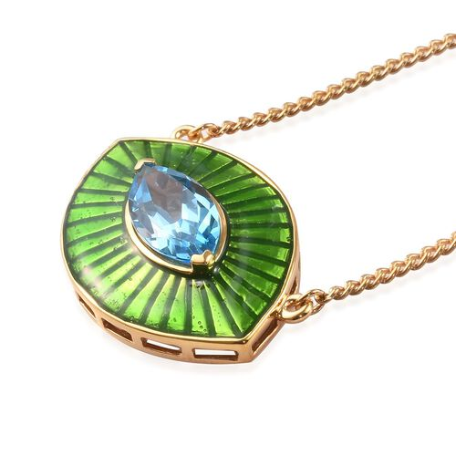 GP - Swiss Blue Topaz and Blue Sapphire Enamelled Eye Necklace (Size 20) in 14K Gold Overlay Sterling Silver 3.02 Ct, Silver wt 9.40 Gms