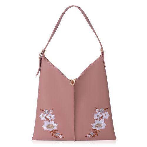 Embroidery Flower Pattern Large Handbag (Size 37x36 Cm) and Small Handbag (Size 20x15 Cm)