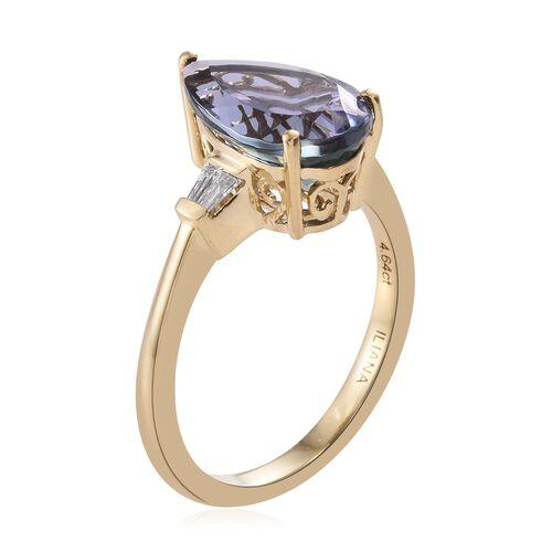 ILIANA 18K Yellow Gold 4.85 Ct AAA Peacock Tanzanite Ring with Diamond SI G-H