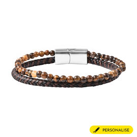 Tigers Eye and Braided Microfibre Leather Bracelet (Size 8) with Magnetic Lock in Stainless Steel
