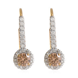 9K Yellow Gold Natural Champagne Diamond (I2-I3), White Diamond Lever Back Earrings 0.50 Ct.