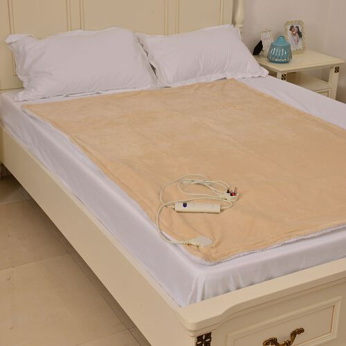 Luxury Edition - Supersoft Sherpa Beige Colour Electric 6 Heating Settings Silky Flannel Blanket (Size 160X120 Cm)