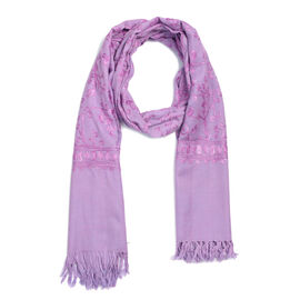 100% Merino Wool Embroidery Purple Colour Scarf (Size 200x70 Cm)