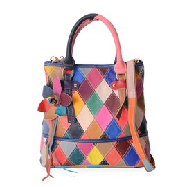 Morocco Collection - 100% Genuine Leather Multi Colour Block Pattern with 3D Flower Bag with Removable Shoulder Strap (Size 29.5 x 28 x 12)