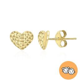9K Yellow Gold Diamond Cut Heart Earrings (with Push Back)