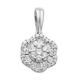 ILIANA 18K White Gold IGI Certified Diamond (Bgt and Rnd) (SI/ G-H) Pendant 0.500 Ct.