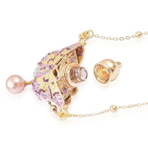 Turkish Style Perfume Bottle Necklace Simulated Gold and Rose Gold Pearl, Purple Austrian Crystal and Simulated Champagne Diamond Multi Colour Enameled Butterfly (Size 27) in Yellow Gold Tone