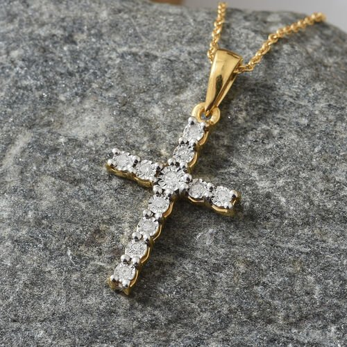 Diamond (Rnd) Cross Pendant with Chain (Size 20) in 14K Gold and Platinum Overlay Sterling Silver 0.100 Ct.