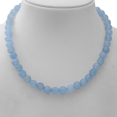 Blue Chalcedony Quartz Beaded Necklace (Size 18) in Sterling Silver 250.00 Ct