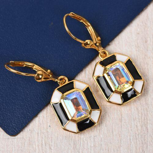 Mercury Mystic Topaz Lever Back Earrings in 14K Gold Overlay Sterling Silver 2.25 Ct.