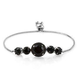Boi Ploi Black Spinel (Rnd) Bracelet (Size 6.5 - 9.5 Adjustable) in Platinum with Black Plating in Silver Plated