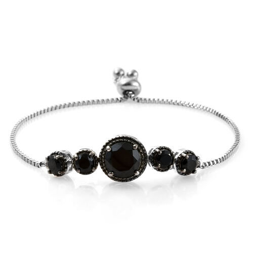 Boi Ploi Black Spinel (Rnd) Bracelet (Size 6.5 - 9.5 Adjustable) in Platinum with Black Plating in Silver Plated