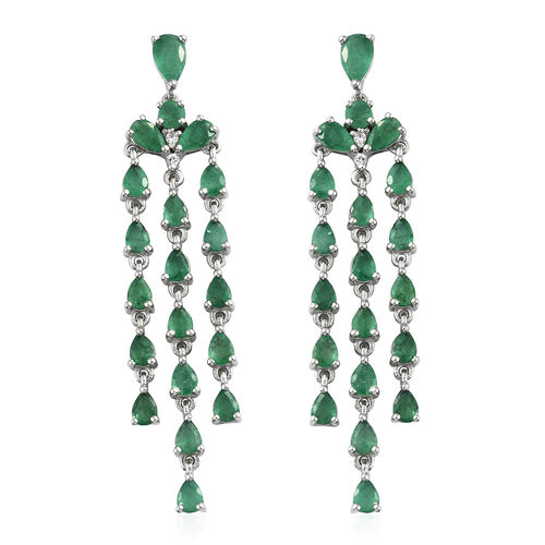 AA Kagem Zambian Emerald (Pear), Natural Cambodian Zircon Chandelier Earrings (with Push Back) in Platinum Overlay Sterling Silver 6.250 Ct. Silver wt 7.00 Gms.