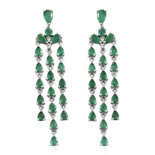AA Kagem Zambian Emerald (Pear), Natural Cambodian Zircon Chandelier Earrings (with Push Back) in Pl