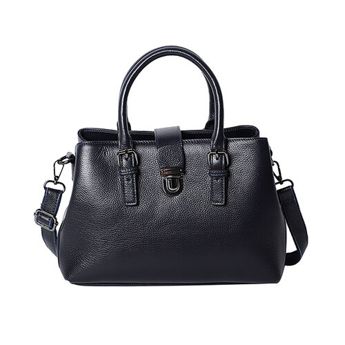 100% Genuine Leather Handbag with Detachable Shoulder Strap and Zipper Closure (Size 30x12x20cm) - B