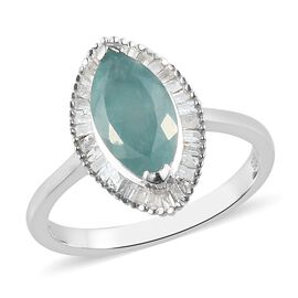 Grandidierite and Diamond Ring in Platinum Overlay Sterling Silver 2.00 Ct.