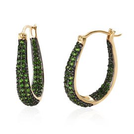 Preview Auction-Russian Diopside (Rnd) Earrings (with Clasp Lock) in 14K Gold Overlay and Black Plating Sterling Silver 2.250 Ct, Silver wt 9.80 Gms.