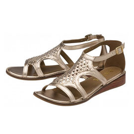 Ravel Cardwell Leather Wedge Sandals in Rose Gold