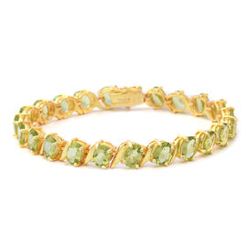 17.60 Ct Hebei Peridot Tennis Bracelet in Gold Plated Sterling Silver 13.20 Grams 7.5 Inch
